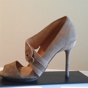 HOLD--L.A.M.B. taupe, suede heels