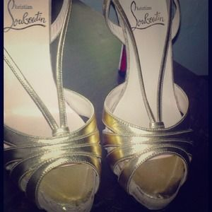 Christian Louboutin Shoes - Authentic Christian Louboutin gold sandal heels