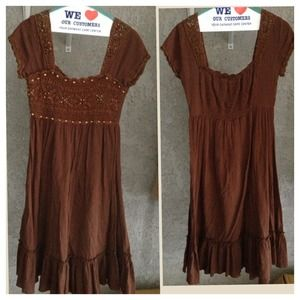 Dresses & Skirts - Adorable Brown Cotton Dress