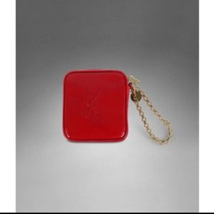 YSL red patent mini wristlet case