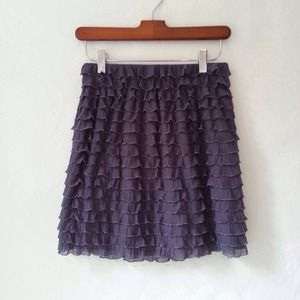 Purple Ruffle Mid-length Skirt