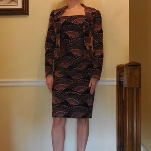 Dresses & Skirts - Black with coral design dress with jacket