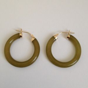 "Jewelry - Gorgeous Jade and 14K Gold Hoops 1"" Diameter BNWT"