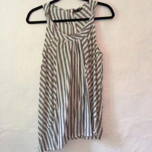 Topshop grey & white stripe top
