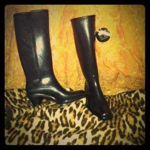 Used, BLACK däv heeled rain boots sz10/11 NIB never wornNWT for sale