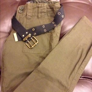 Brand new Sanctuary dark green pants with belt