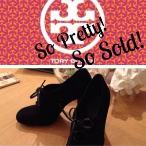 Tory Burch Black Suede booties with leather ties