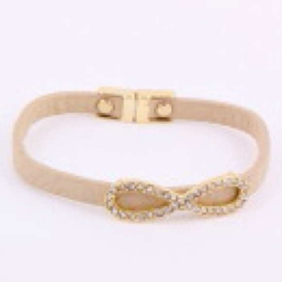 Be Seen Sales Jewelry - On order!!!**Tan bracelet with rhinestone infinity