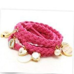 Jewelry - Pink leather wrap bracelet.