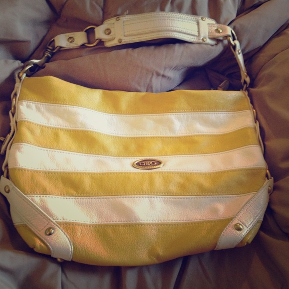 D G Bags   Dolce Gabbana Yellow And White Striped Purse   Poshmark e2957e3c93