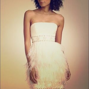 Sue Wong strapless feather dress, champagne, 4