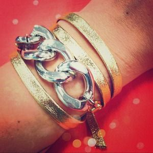 Oia Jules Jewelry - Silver Chain & Gold Leather Wrap Bracelet