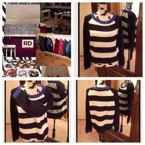 Pretty Nautical striped sweater in blue & white M