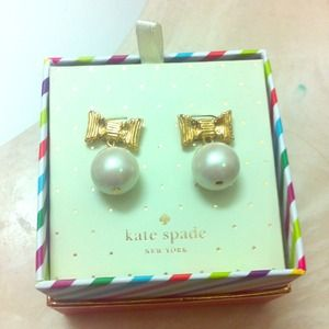 Kate spade bow pearl earrings