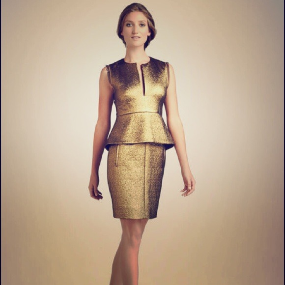 Diane von Furstenburg Dresses & Skirts - DVF Delian Gold Metallic Peplum Dress