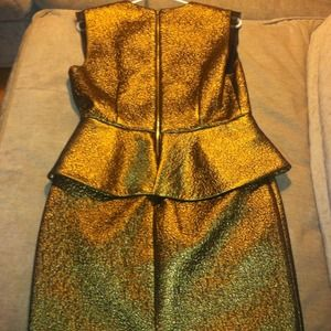 Diane von Furstenburg Dresses - DVF Delian Gold Metallic Peplum Dress 3