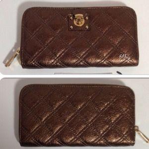 Marc Jacobs Quilted Metallic Large Zip Wallet