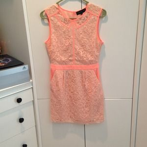 Bright coral lace pattern dress
