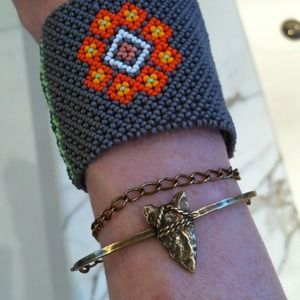 Adorable Brass Arrowhead Wrap Chain Cuff