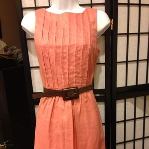 NWOT coral pleatted dress with belt
