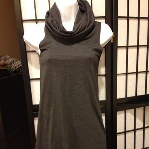 Brand new gray cotton turtleneck tank dress