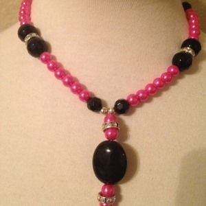 Jewelry - Pink and black with diamond necklace