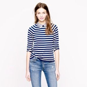 J Crew Liberty Collar Merino Striped Sweater S!