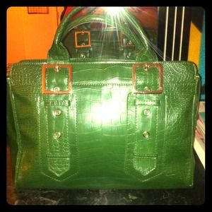 Mark by Avon Handbags - Green & Silver Embossed Briefcase like Handbag