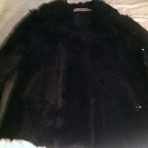 Black Red Valentino fur jacket