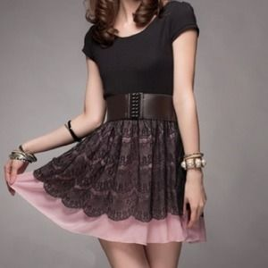 🔴SOLD🔴 2 in 1 Laced Layered Dress w/o belt