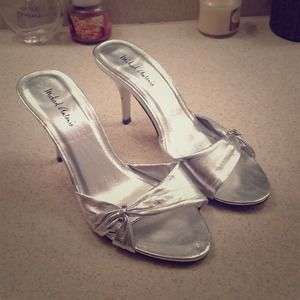 Silver diamond backless heels REDUCED