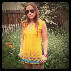 Vintage Neon Boho Beaded & Sequined Tunic