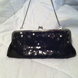 Black sequin clutch with strap NWOT