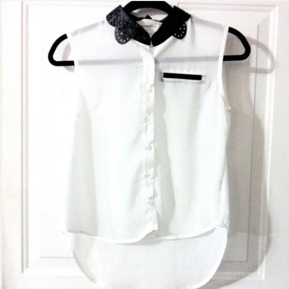 Leatherette Collar Blouse