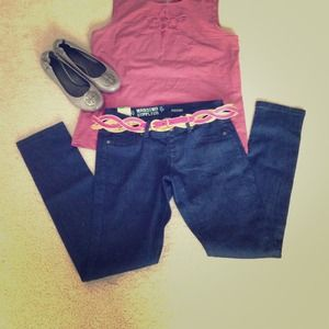 Denim - Dark denim colored jeggings