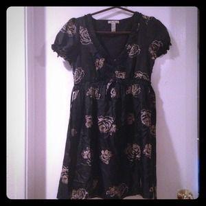Forever 21 black floral A Line shirtdress