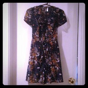 Xhiliration sheer floral print shift A Line dress