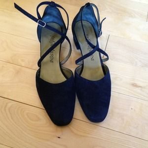 Yves Saint Laurent Shoes - Vintage YSL navy Mary Jane pumps