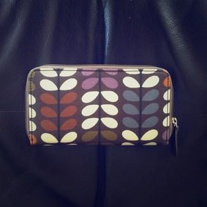 Orla Kiely big zip wallet, multi stem print