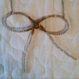 Anthropologie Beaded Bow Necklace
