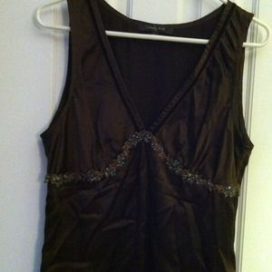 Tops - Silk sleeveless v-neck top in rich chocolate brown