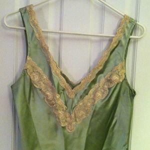 Tops - Silk sleeveless v-neck top in sage green