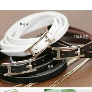 Jewelry - Leather like wrap buckle bracelet! White or brown.