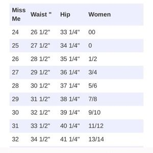 Miss Me jeans size chart conversion 👖🎀