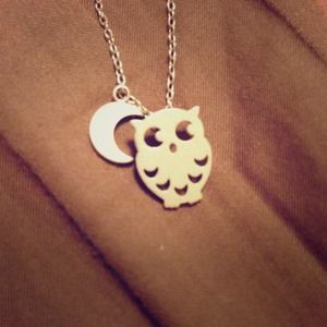 None Jewelry - Brushed Silver Owl Moon Necklace