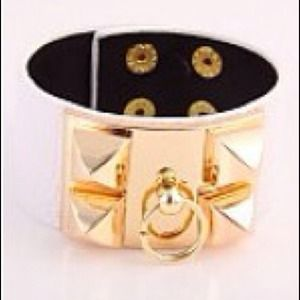 Leatherette and studded cuff