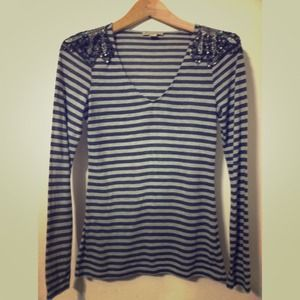 Medium striped top with shoulder detail