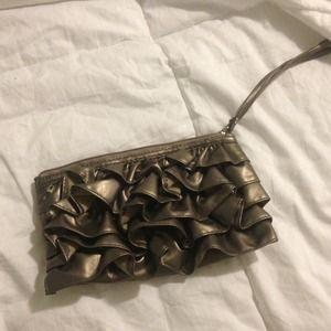 Bronze ruffle clutch