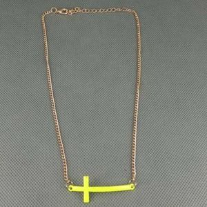 Sideways Cross Necklace Neon Yellow + Gold