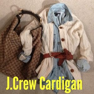 J. Crew Sweaters - Jcrew Cream wool cardigan with leather buttons